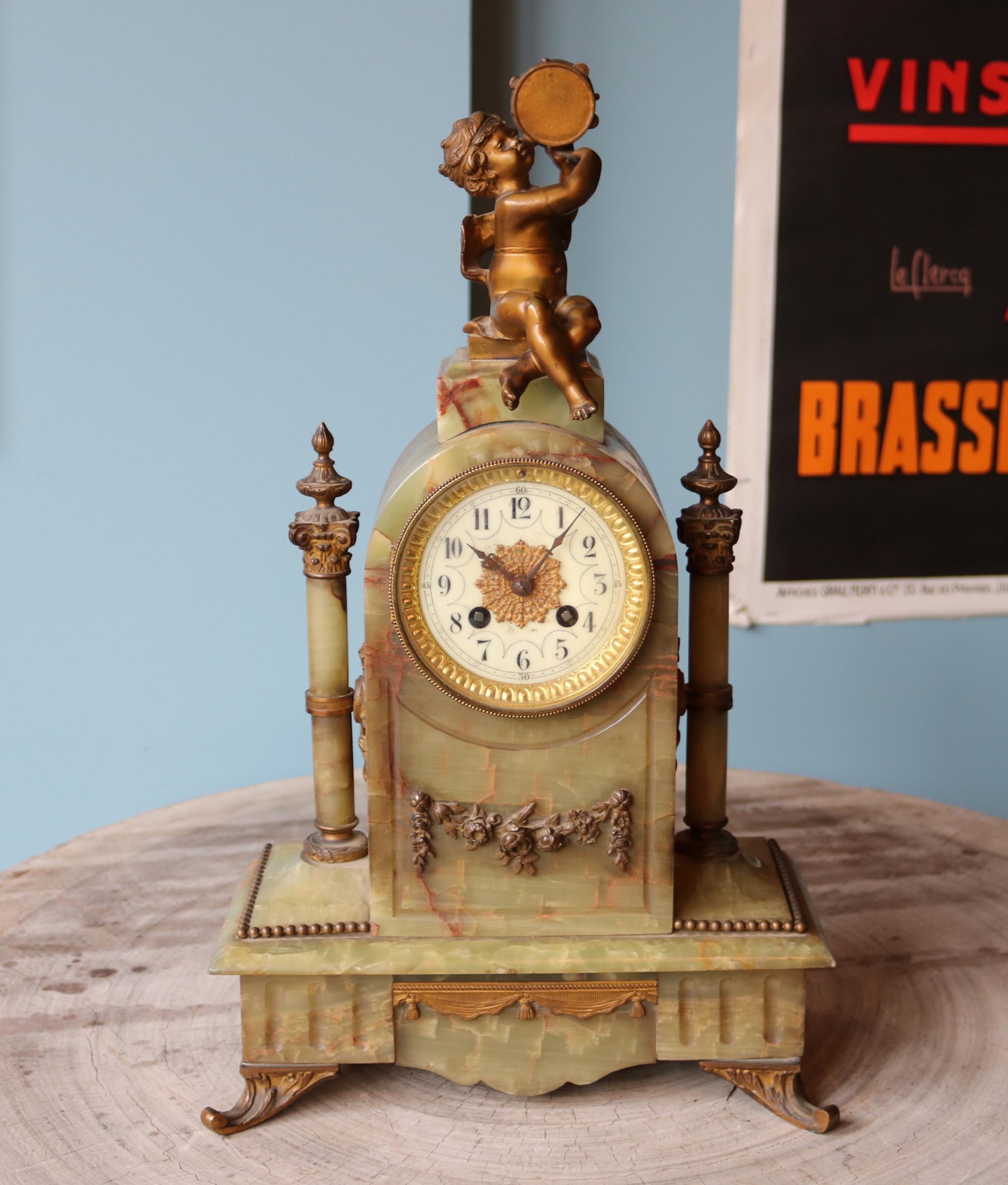 Clock; onix;bronze;gilded;marti;paris