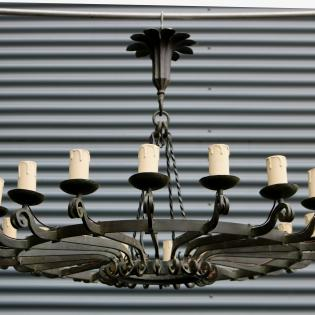 Large 20 light forged iron a-deco chandelier .